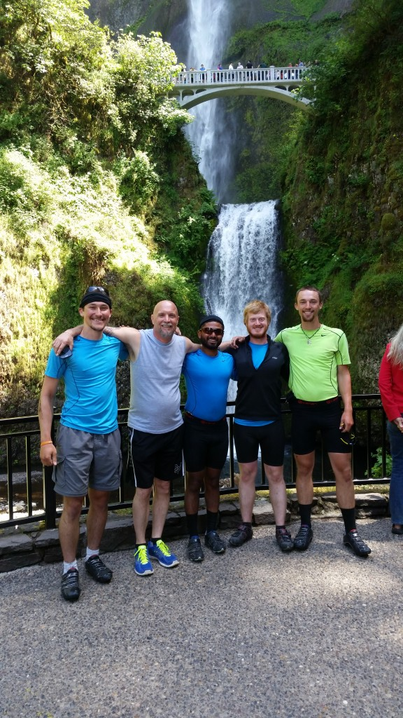 With Amos Stitham, at Multnomah Falls.