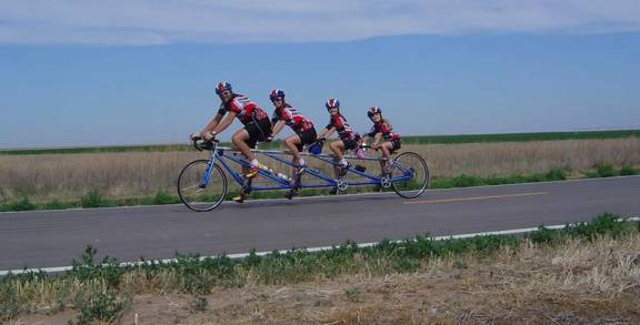 A tandem offers the chance to ride with your entire family!