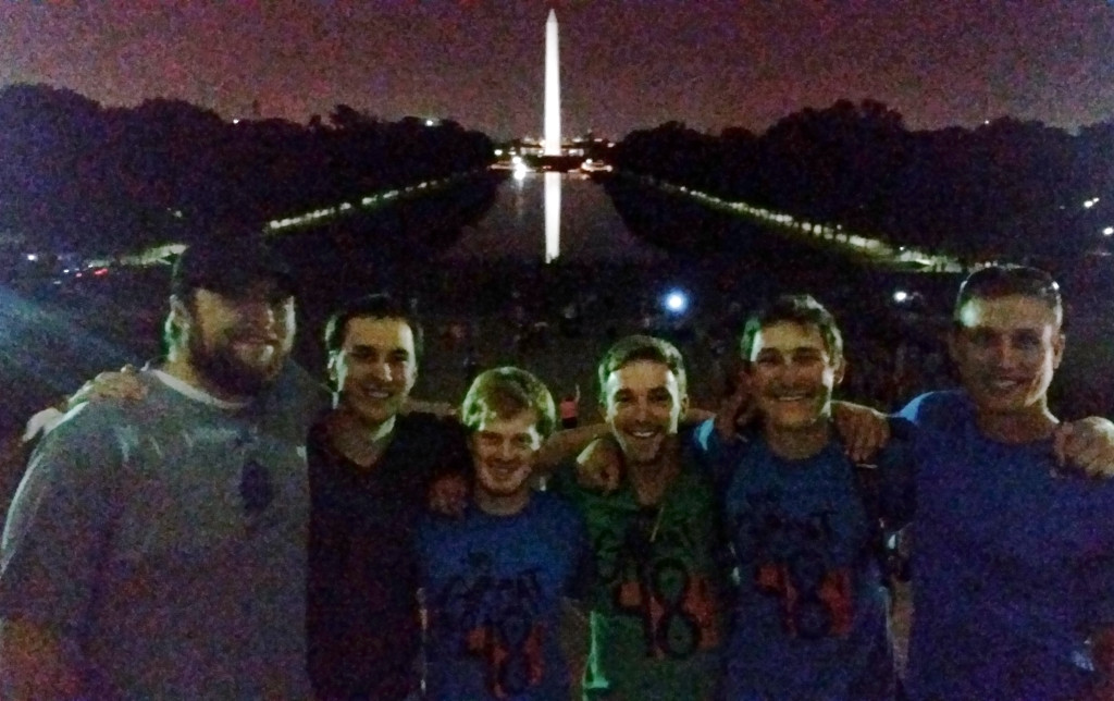 The Great 48 team along with Jameson Berreth, and Spencer Chase, both South Dakota State University alumni at the Lincoln Memorial.